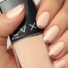 Add interest to a nude mani by tipping with a rose gold chrome polish. Classy and simple, you can wear this look anywhere.