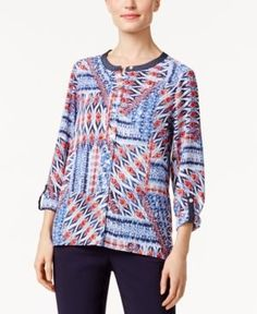 Alfred Dunner Uptown Girl Printed Roll-Tab Shirt - Multi 14