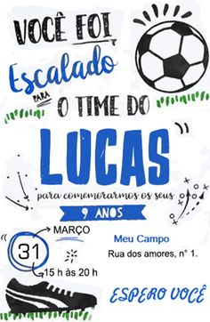 Convite de festas do futebol Soccer Party, Sports Party, Party Printables, Invitation Cards, Baby Shower, Leonardo, Gabriel, Digital Art, Fitness