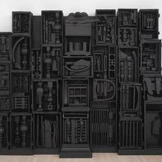 "Louise Nevelson ""Untitled"", wood painted black © 2010 Estate of Louise Nevelson / Artists Rights Society (ARS), New York. Courtesy of The Pace Gallery Nevelson, who pioneered installation art in. Louise Nevelson, Joseph Cornell, Outdoor Sculpture, Sculpture Art, Art Basel Miami, Found Object Art, Assemblage Art, Tumblr, Art Plastique"