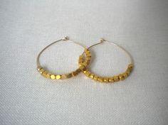 Vermeil Beaded Hoops Dainty Jewelry Handmade Gift by MiriamAriano, $25.00