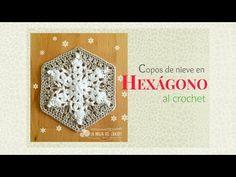 Cómo hacer un Granny hexagonal con Copos de nieve al crochet - YouTube