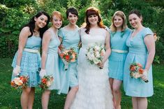 Obsessed with the unique aqua and orange color palette and vintage vibe of this wedding!