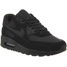 Nike Air Max 90 ($145) ❤ liked on Polyvore featuring mens, men's shoes, men's sneakers, shoes, black black mono, his trainers and trainers