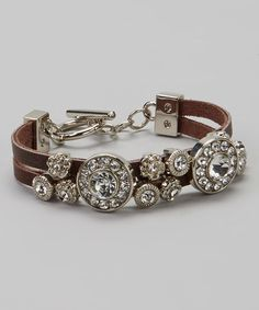 Take a look at this Silver & Brown Circle Stone Bracelet by I Love Accessories on #zulily today!