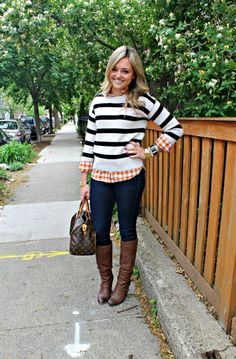 xo Christine Marie- gingham shirt, sweater, skinnies and cognac boots