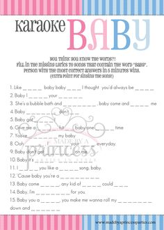 free gender reveal baby shower games from made by a princess karaoke baby