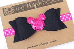 Minnie Mouse Headband-Felt Bow-Baby Headband-Baby Girl-Hair Bow-Birthday Headband-Minnie Birthday