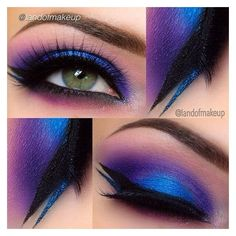 Awesome bright blue purple eye makeup with black blue glitter liner LR... ❤ liked on Polyvore featuring beauty products, makeup and eye makeup