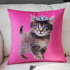 Cheap body pillow for sofa cartoon cat with crown