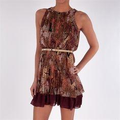 Jessica Simpson Pleated Love Print Dress with Belt #VonMaur #JessicaSimpson