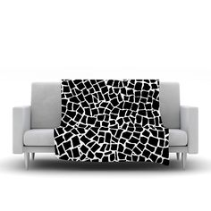 "Project M ""British Mosaic Black"" Fleece Throw Blanket"