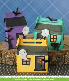Lawn Fawn Intro: Scalloped Treat Box Haunted House Add-On, Shut the Front Door + Cute Cobweb Halloween House, Halloween Cards, Fall Halloween, Treat Holder, Treat Box, Lawn Fawn Blog, Lawn Fawn Stamps, House Gifts, Cute House