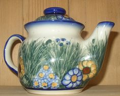 WR8F-WB3 Wildflower - Teapot (Small) (2 Cups) WR UNIKAT Signature Pattern Each piece is signed by the Artist Collectible Polish Pottery ~ Handmade in Boleslawiec, Poland. *Oven Safe *Microwave Safe *D