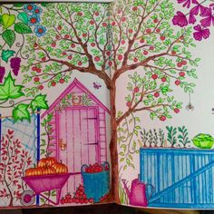 Double Page Pumpkin. Secret Garden. Folha Dupla Abóbora. Jardim Secreto. Johanna Basford