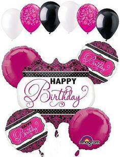 11 pc Pink Black & White Damask & Dots Balloon Bouquet Decoration Happy Birthday