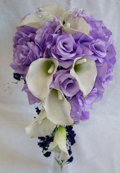 Calla lilys and Lavender Roses  Wedding by Mysilkweddingflowers