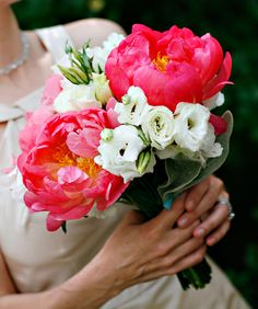 Coral peony and ivory lisianthus bridal bouquet {TableArt, Photo: Marie Labbancz}