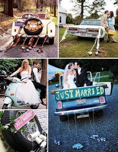 """Latitas y un gran cartel de """"Recien Casados"""" en nuestro auto de bodas... Es mucho pedir?"""