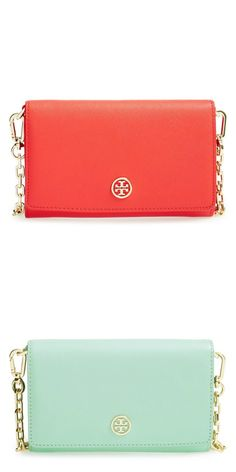 Coral or mint? Love this Tory Burch leather wallet on a chain.