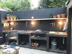 30 Insanely Smart DIY Kitchen Storage Ideas – Best Home Ideas and Inspiration If you have the space in your yard, check out the outdoor kitchen ideas total with bars, seating areas, storage space, as well as grills. Outdoor Kitchen Bars, Backyard Kitchen, Outdoor Kitchen Design, Summer Kitchen, Outdoor Kitchens, Cozy Kitchen, Outdoor Cooking Area, Backyard Bbq, Kitchen Cost