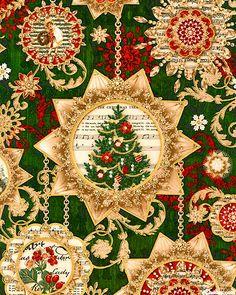 Holiday Shimmer - Musical Ornaments - Hunter Green/Gold