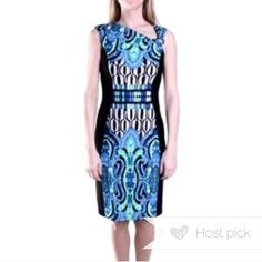 """HP / Joseph Ribkoff fitted Dress Center block pattern midi fitted dress. Stretch style dress with lining. Side hidden zipper, detail on shoulder. Waist is 26"""" and length from shoulders in 55"""". Looks great with teal pumps in my closet. Joseph Ribkoff Dresses Midi"""