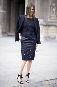Black tee w blazer and pencil embroidery skirt. Strappy sandals - black tailor jacket