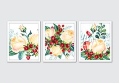 Watercolor Berry Flavor Prints, White Roses Art Prints, Hand Painted Flowers, Floral Watercolor Painting, Berries Prints, Floral Room Decor by MintArtStudio on Etsy