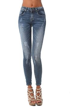 Dressation Womens Ripped Distressed Stretch Flare Bootcut Jeans ...