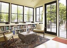 sunroom doors interior \ doors to sunroom . french doors to sunroom . sunroom with french doors . sunroom addition off living room french doors . Low Bookshelves, Built In Bookcase, Book Shelves, Window Shelves, Bookshelf Plans, Book Storage, Sunroom Windows, Farmhouse Windows, Black Windows