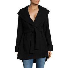 Trina By Trina Turk Women's Belted Wrap Coat ($266) ❤ liked on Polyvore featuring outerwear, coats, pink, belted wrap coat, long sleeve coat, wrap coat, formal coat and shawl collar coat