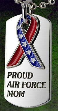 Proud Air Force Mom Flag Ribbon Dog Tag Necklace at The Veterans Site