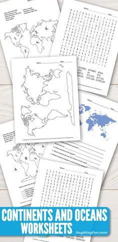 Continents and Oceans Worksheets - Free Word Search, Quiz and More - Itsy Bitsy Fun - education - 6th Grade Worksheets, Geography Worksheets, Homeschool Worksheets, Geography Activities, Geography For Kids, Social Studies Worksheets, 6th Grade Social Studies, Maps For Kids, Free Printable Worksheets