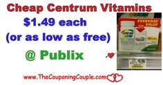 Cheap Centrum Vitamins @ Publix through 1/110 or 1/11. Check out this great deal to save on your daily vitamins. It's time to stock a few away!  Click the link below to get all of the details ► http://www.thecouponingcouple.com/cheap-centrum-vitamins-publix-through-11117/ #Coupons #Couponing #CouponCommunity  Visit us at http://www.thecouponingcouple.com for more great posts!