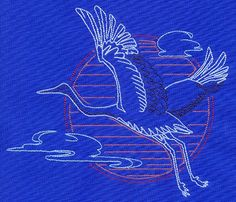 I like the geometric circle backgrounding the crane in flight.
