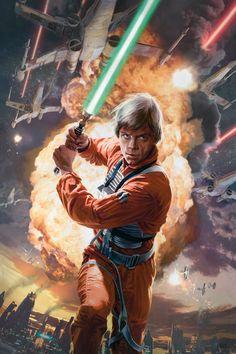 Luke Skywalker (from 30 new amazing Star Wars illustrations) Star Wars Jedi, Star Wars Luke, Star Trek, Star Wars Fan Art, Luke Skywalker, Images Star Wars, Star Wars Pictures, Star Wars Poster, Star Wars Zeichnungen