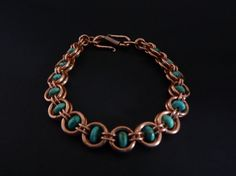natural turquoise and copper chain maille bracelet (OKCreations in United Kingdom)