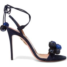 Aquazzura Disco Thing pompom-embellished suede sandals (10.724.285 IDR) ❤ liked on Polyvore featuring shoes, sandals, aquazzura, heels, blue, aquazzura shoes, pom pom sandals, heeled sandals, tie sandals and suede shoes