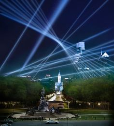 Renowned new media artist Rafael Lozano-Hemmer will create a world premiere sky-high interactive public art experience in Philadelphia later this year. (Simulated image of Rafael Lozano-Hemmer's Open Air from the steps of the Philadelphia Museum of Art, courtesy the Association for Public Art)