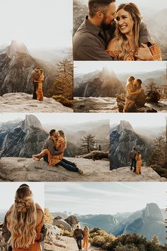 This engagement shoot at Glacier Point in Yosemite National park was truly a dream come true. The sunrise over Half Dome was MAGICAL. Country Engagement Pictures, Engagement Photo Outfits, Engagement Photo Inspiration, Engagement Shoots, Mountain Engagement Photos, Fall Engagement, Couple Photography Poses, Engagement Photography, Couple Photoshoot Poses