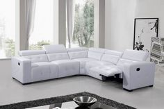 The Anastacia sectional has ample seating room for your family and friend. Upholstered in Bonded Leather with chrome legs, this sectional includes (1) Left, (1) Right Recliner Chair, (2) Arm Less Chair and (1) Corner Wedge. Additional Arm Less chair can be purchased separately for more seating. All head rest are adjustable to your comfort level. Only the 2 Left and Right chairs can recline. Back and front panel are tufted and legs are in black finish.