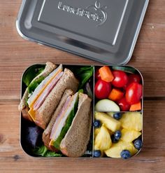 LunchBots Bento Trio Stainless Steel Food Containers are 60% larger than our classic containers. They're perfect for packing a sandwich or salad on one side, plus chips, nuts, fruit, or one of our Dips Condiment Containers in the two smaller compartments.