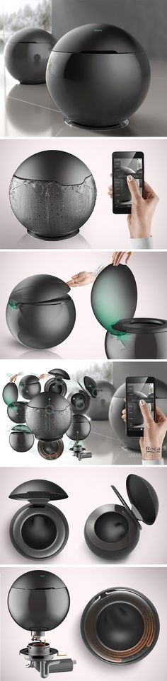 Designed for the standard-setting Spanish brand Roca, this concept is pure design genius. Forget that clunky, white, porcelain potty, this is a beautiful, black, sophisticated sphere made of tough teflon. Closing the lid completes the perfectly round shape so it looks like an artistic, sculptural addition to your bathroom rather than a big, ugly eyesore.