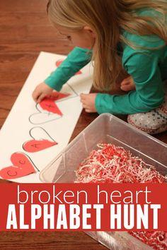 Broken Heart Alphabet Hunt - fun scavanger hunt sensory bin for Valentine's day