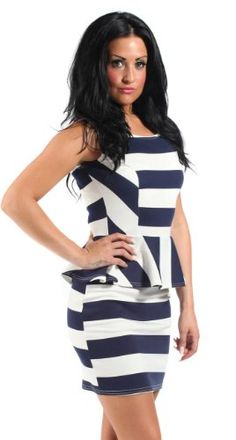 e22e07b4ed63 $39 Stunning Stripy Peplum Dress, Party Dress, Mini Summer Dress, in Blue  and White, Size 4From Fashion Victim $39