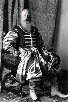 His Imperial Highness Grand Duke Mikhail Nikolaevich wearing the attire of a Zaporozhean Cossacks chief (ataman) in the time of Tsar Alekesei Mikhailovich.