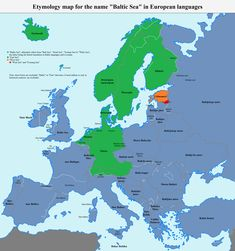 "Etymology map for the name ""Baltic Sea"" in European languages European Languages, Foreign Languages, Different Languages, Native American Beauty, Historical Maps, Baltic Sea, Geography, Alphabet, Study"