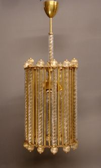 Vintage murano glass lantern with gold inclusions.