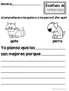 Opinion Writing unit in Spanish.  Unidad de escritura: opiniones en espanols.  Kinder, first grade, second grade